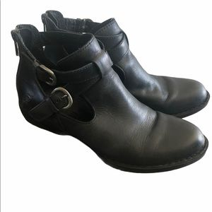 Born Leather Buckled Ankle Booties, Size 6.5